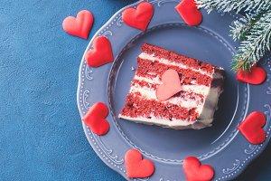 Red velvet cake slice for Valentines day dessert. Square