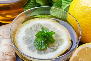 Ginger tea in a glass for flu cold winter days