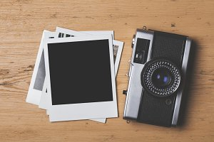 Vintage instant photo and camera