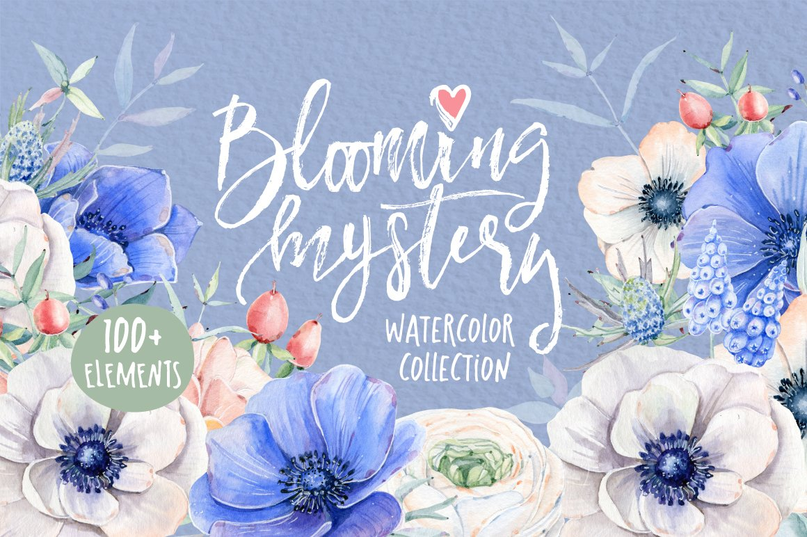 BLOOMING MYSTERY Watercolor set ~ Illustrations ~ Creative Market