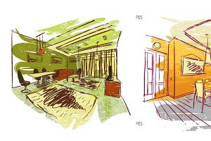 Quick hand drawn interior sketches 5