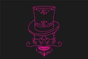 Skull ornament cylinder hat pink