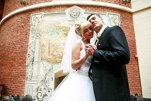 A wedding couple daydreams