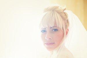 A portrait of a blonde bride