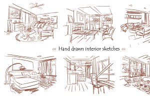 Set of hand drawn interiors 02