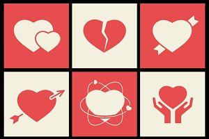 Heart flat icons set