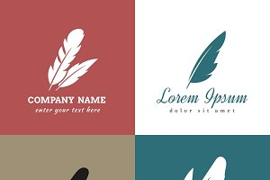 Feather vector logo templates