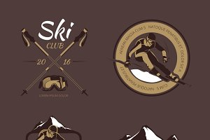 Nordic skiing vector emblems