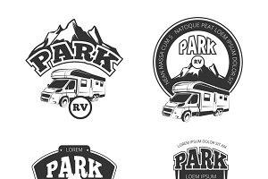 RV and campers vector emblems