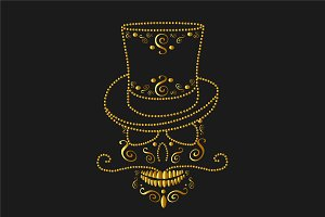 Skull icon gold with cylinder hat