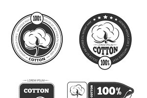 Cotton vintage vector labels set