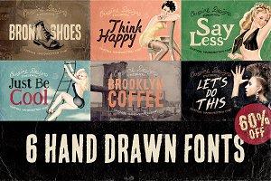 6 Hand Drawn Fonts - Bundle