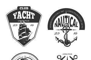 Vintage nautical vector labels