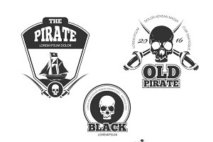 Pirate logo, labels and badges