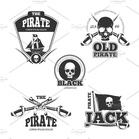 Pirate Logo Labels And Badges