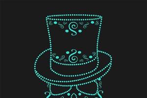 Skull icon neon cylinder hat