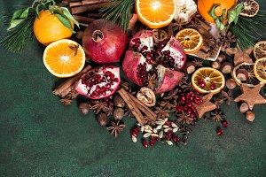Fruits pomegranate orange spices