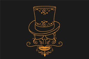 Skull orange with cylinder hat