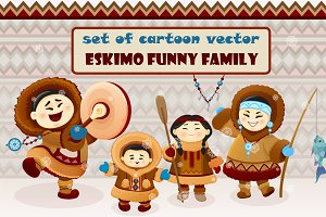 Inuit cute family. Eskimo people.