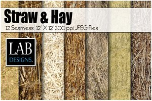 12 Straw & Hay Seamless Textures