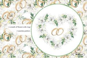 Wedding rings. Watercolor