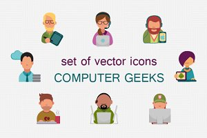 Icon set with computer Geeks