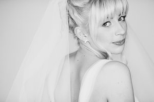 Gorgeous bride with blonde hair