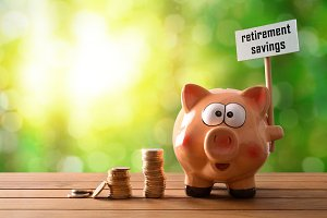 Retirement saving concept horizontal