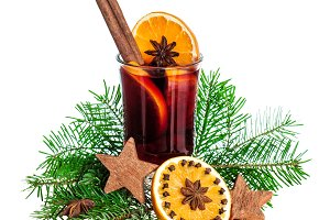 Mulled wine with orange spices