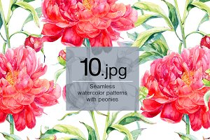 Seamless watercolor pattern. Peonies
