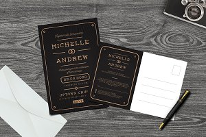 Modern Art Deco Wedding Invitation