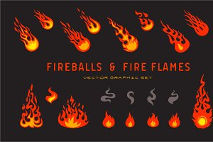 fireballs and flame icons set