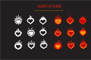 hearts in flame icons set