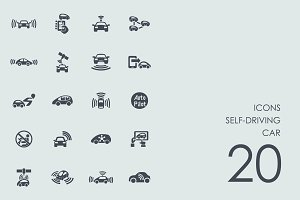 Self-driving car icons