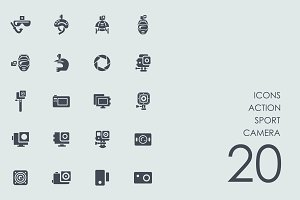 Action sport camera icons