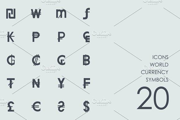 World Currency Symbols Icons Icons Creative Market