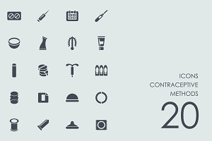 Contraceptive methods icons