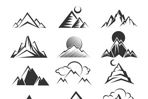 Vector mountain icons