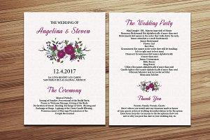 Floral Wedding Fan Program Template