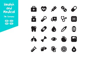 Black Health and Medical Icon Set