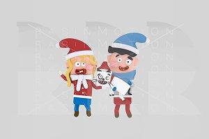 3d illustration. Santa Kids & cat.