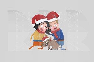 3d illustration. Santa couple & Dog