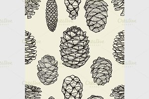 Seamless pattern with pine cones