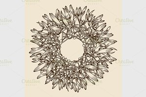 Monochrome Christmas wreath.