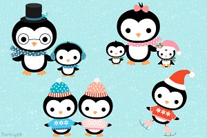 Kawaii penguin family clipart set