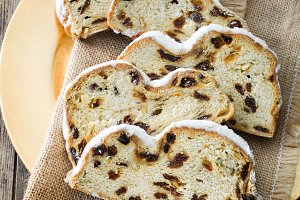 Slices of Christmas stollen