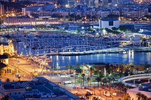 Port Vell in Barcelona at Night