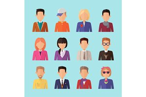 Set of People Characters Avatars