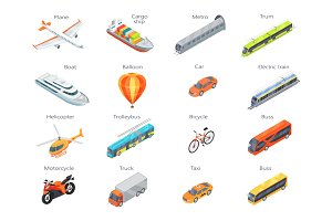 Transport Icons in Isometric