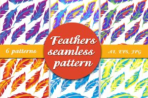 Feathers seamless pattern